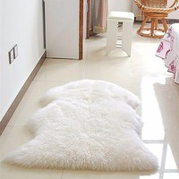 Soft Artificial Sheepskin Chair Cover Warm Hairy Carpet Seat Pad Rugs Washable Bedroom Faux Mat
