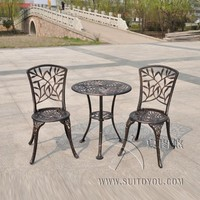 Garden Bistro Set Furniture 3PCS bamboo leaves Design cast Aluminum Porch Balcony Cafe Table Chairs Set