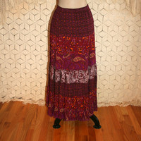 Hippie Maxi Skirt Long Boho Skirt Gypsy Velvet Burnout Full Skirt Tiered Skirt Purple Paisley Hippie Clothing Medium Vintage Womens Clothing