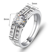 Genuine 925 Engagement Ring Wedding Ring Sterling Silver Ring Lady Silver Rings Set 2Pcs = 1929962244