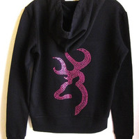 Hot Pink Rhinestone Browning Black Hooded/Jacket  Sizes S M  L