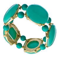 Blu Bijoux Gold and Turquoise Bubble Stretch Bracelet - Max & Chloe