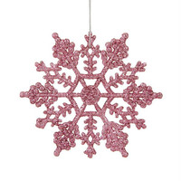 24 Christmas Ornaments - Pink Glitter Snowflake