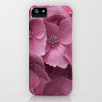 Pink Hydrangeas Art Print iPhone 6, 5, 4 and 3 Cases, Samsung Galaxy Cases, Pink Floral Art Print Phone Cover.