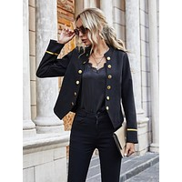 Contrast Tape Double Button Jacket