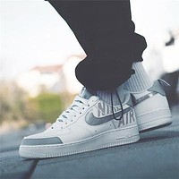 Nike Air Force 1 Air Force One low-top laser 3M reflective sports shoes ,White silver hook