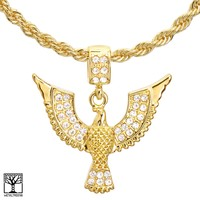 """Jewelry Kay style Men's 14K Gold Plated Flying Eagle Pendant 22"""" / 24"""" Chain Necklace HC 1150 G"""