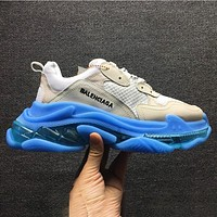 Wearwinds Balenciaga air cushion crystal bottom retro old shoes shoes gray white blue