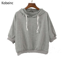 2016 Vintage Short Paragraph Solid Color Hooded Sweatshirt Harajuku Casual Candy Colors Hoodies Summer Autumn Women Tracksuit