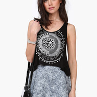 Black Sun And Moon Moon Signs Sleeveless Top