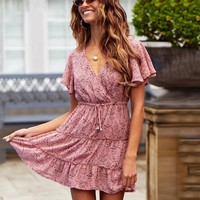 Elegant Boho Floral Print Mini Dress Pink Flare Sleeve Bohemian Chiffon Beach Dress Ladies
