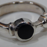 Sterling Silver 925 Ring with Black Onyx Stone