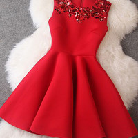 Red Beaded Sleeveless Dress
