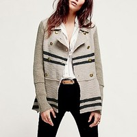 Free People Womens Military Stripe Peplum Jacket