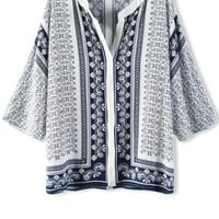 Tribal Print Blouse with Sleeve