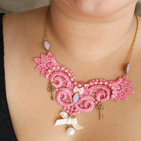 Sweet Lolita Lace Choker Style Necklace - Cotton Candy Pink