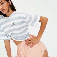Striped T-shirt with embroidered detail - pull&bear
