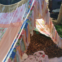 Custom Boho shabby chic tent glamping teepee vintage scarves Gypsy hippie patchwork bed canopy Wedding photo prop festival Bohemian hippy