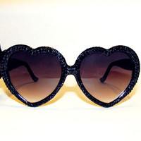 Jet Black Swarovski Heart Sunnies