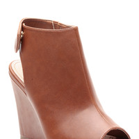 Chestnut Faux Leather Peep Toe Wedges