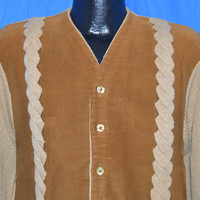 70s Brown Cable Knit Faux Suede Cardigan Sweater Jacket Medium