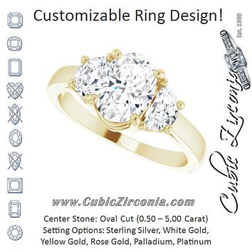 Cubic Zirconia Engagement Ring- The Bree (Customizable 3-stone Design with Oval Cut Center and Half-moon Side Stones)