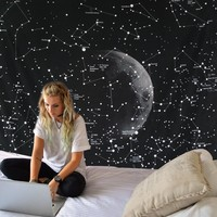Starry Night Constellation Boho Wall Tapestry