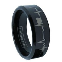 8mm Black Comfort Fit Tungsten Carbide Ring with Laser Forever Love Design EKG Heart Beat Men's Aniversary/engagement/wedding Band (Size 6-16 Available)