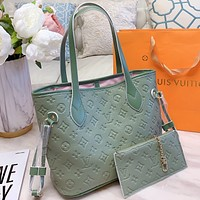 LV Fashion New Monogram Print Leather Shoulder Bag Crossbody Bag Handbag Two Piece Suit  Green
