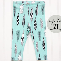 ORGANIC Cotton Knit Baby Toddler Turquoise Feather Leggings