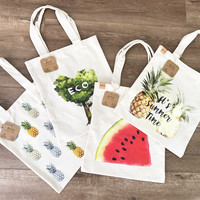 Eco print canvas tote