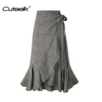 Cuteelk Ladies Retro Autumn Plaid Ruffles Cotton Long Skirts Female Women Sexy Casual Knee-Length Skirt British Style Clothing