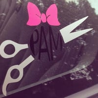 Shears Decal- Monogram Shears Decal- Car Decal- Custom Decal- Hairstylist Decal