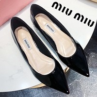 MIU MIU Summer Women Simple Flat Pointed Single Shoes