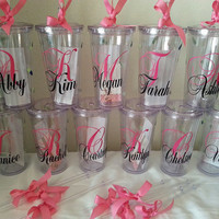Personalized 2 monograms double wall acrylic tumbler cup16oz choose your colors