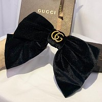 GUCCI New fashion bow knot velvet hair clip Hairpin women Burgundy