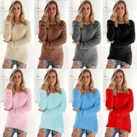 Women Long Sleeve Loose Cardigan Knitted Sweater Pullover Casual Knitwear Jumper