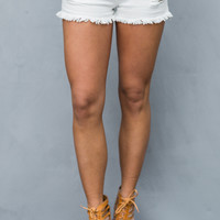 Blue Jean Baby Shorts in Distressed White Denim