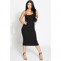 Black Ribbed Midi Body Con Dress @ Cicihot sexy dresses,sexy dress,prom dress,summer dress,spring dress,prom gowns,teens dresses,sexy party wear,ball dresses