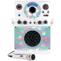 THE SINGING MACHINE SML385BTW Bluetooth(R) Karaoke System with LED Disco Lights & Microphone (White)