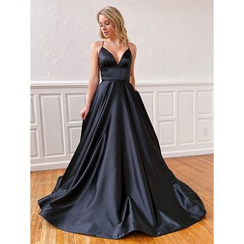 Black Prom Dress Lace Up Back, Prom Dresses long, Evening Dress, Formal Dress, Ball Gown CD0105