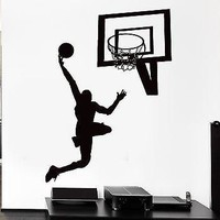 Wall Decal Sport Basketball Ball Jump Game Basket Mural Vinyl Stickers Unique Gift (ed058)