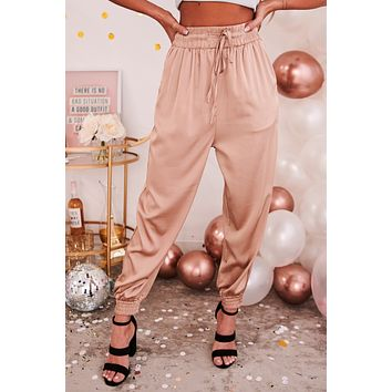 Hit The Jackpot Satin Joggers (Champagne)