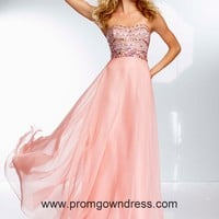 Empire Strapless Beading Chiffon 2014 Watermelon Red Prom Dress Style OLEM038,2014 Prom Dresses