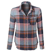 Plaid Button Down Flannel Shirt with Roll Up Sleeves (CLEARANCE)
