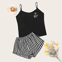 Swan Embroidered Cami & Striped Shorts PJ Set