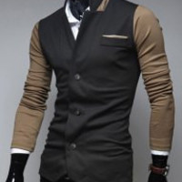 Stand Collar Color Block Long Sleeves Blazer