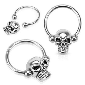 "Skull Bead 316L Surgical Steel Captive Bead Ring 16ga 1/2"" Hoop"