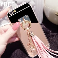 Luxury Shining Rhinestone Pendant Tassel Mirror phone Back Cover Case For samsung galaxy A5 A7 A8 2016 2015 J3 J5 J7 phone case
