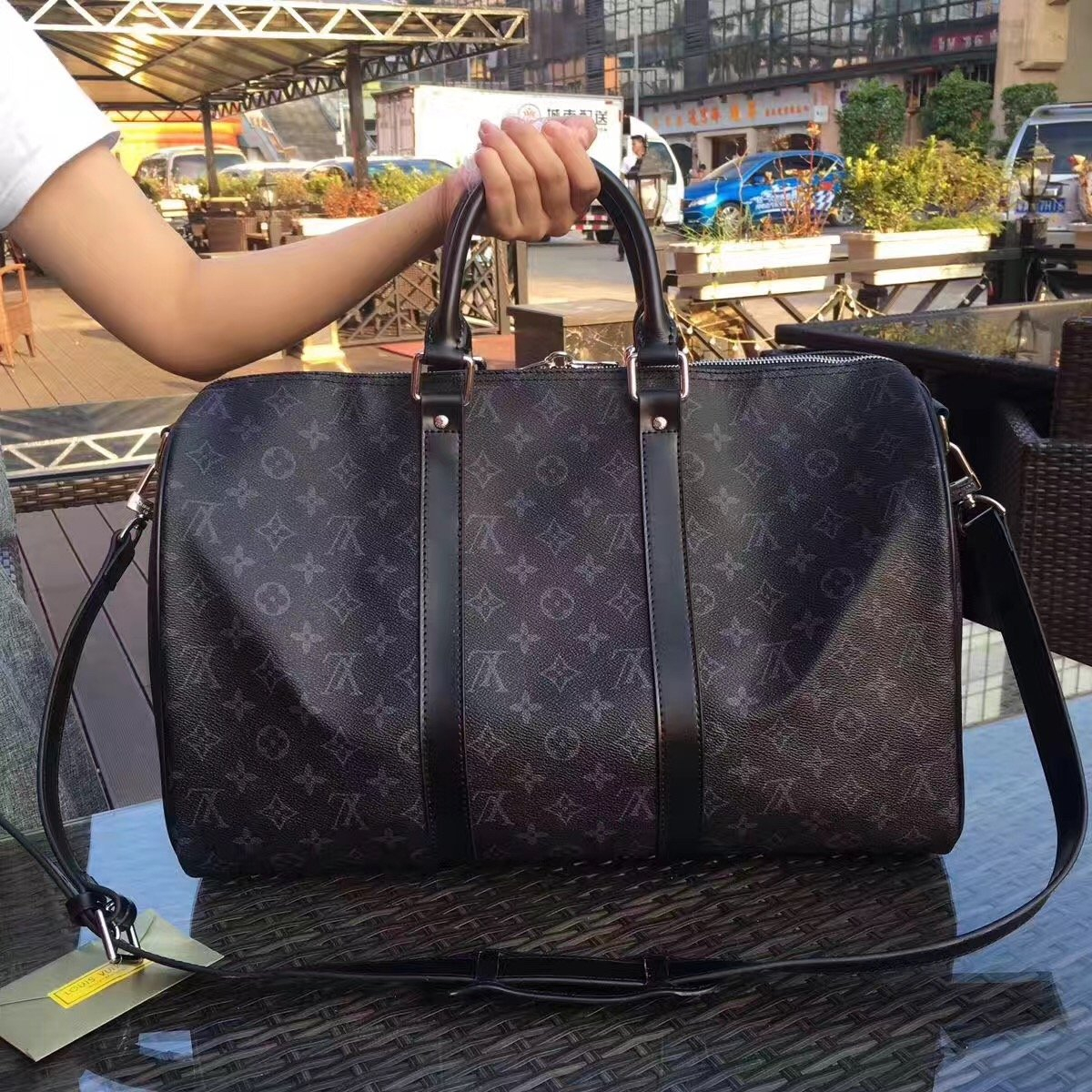 Image of LV Louis Vuitton NEW HOT FASHION MONOGRAM LEATHER KEEPALL 55 TRAVEL BAG